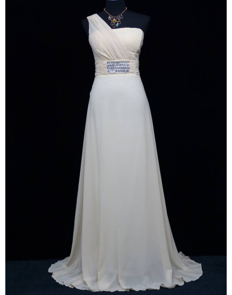 Beautiful Striking Dark Cream Evening Gown Size 16 18