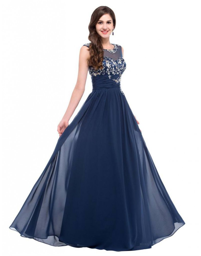 Elegant Navy Blue Embroidered Sequins lace Evening Ball Gown - Size 18