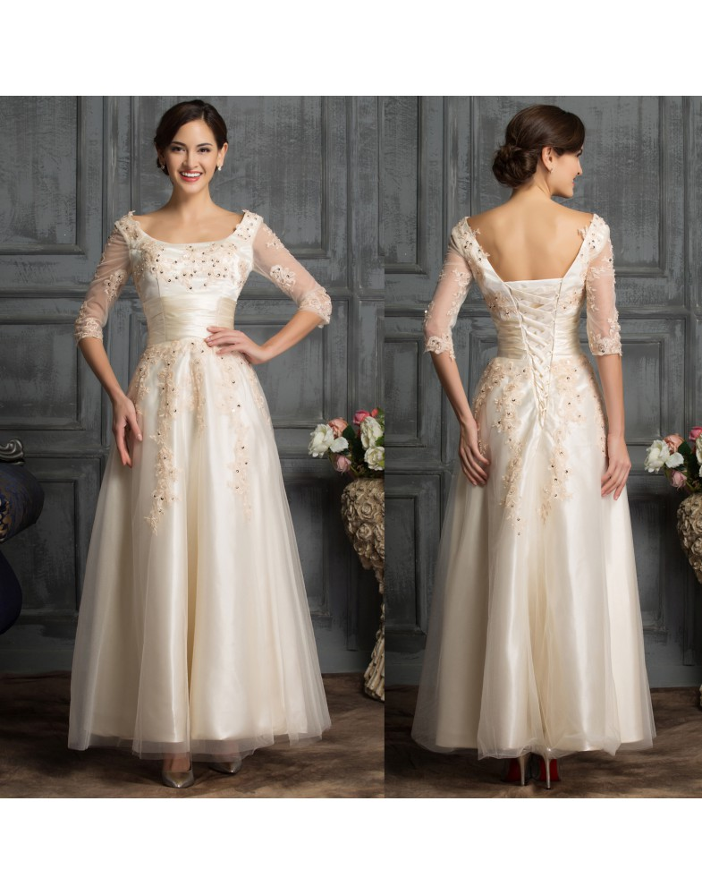 Half Sleeve Lace Tulle Sequin Formal Ball Cocktail Evening Dress