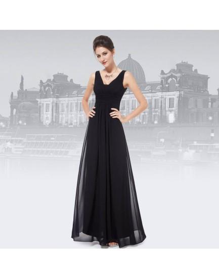 Elegant Black Deep V-neck Evening Dress - Size 12