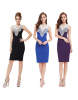 Fashion Sapphire Black Sleeveless Lace Evening Dress - Size 14